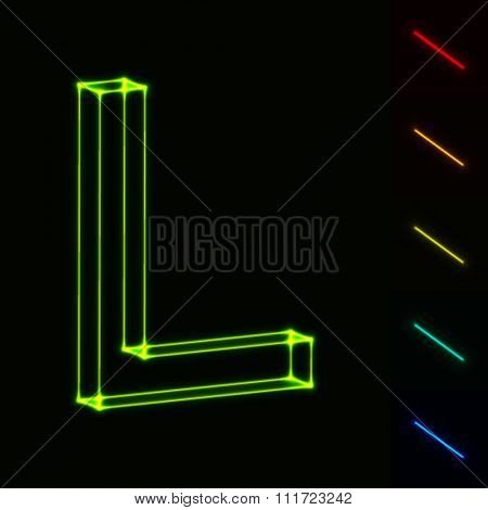 EPS10 vector glowing wireframe letter L - easy to change color