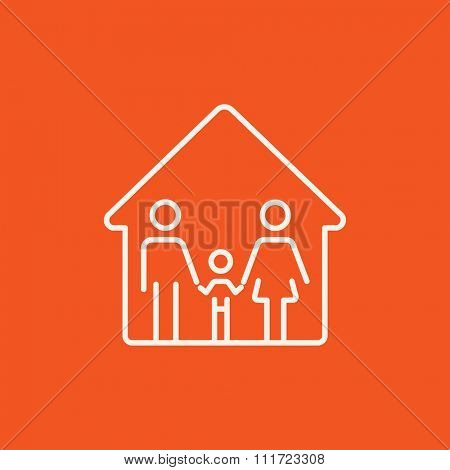 Family house line icon for web, mobile and infographics. Vector white icon isolated on red background.