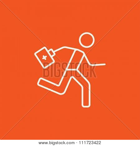 Paramedic running with first aid kit line icon for web, mobile and infographics. Vector dark grey icon isolated on light grey background.