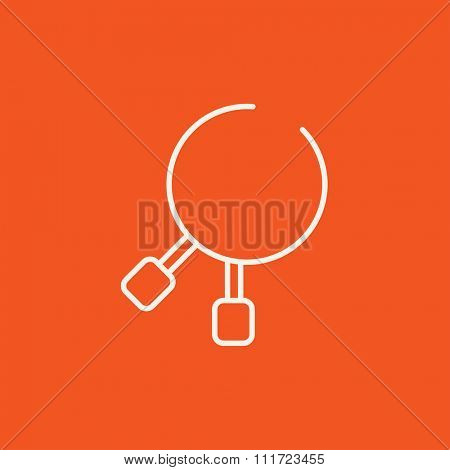 Dental pliers line icon for web, mobile and infographics. Vector white icon isolated on red background.