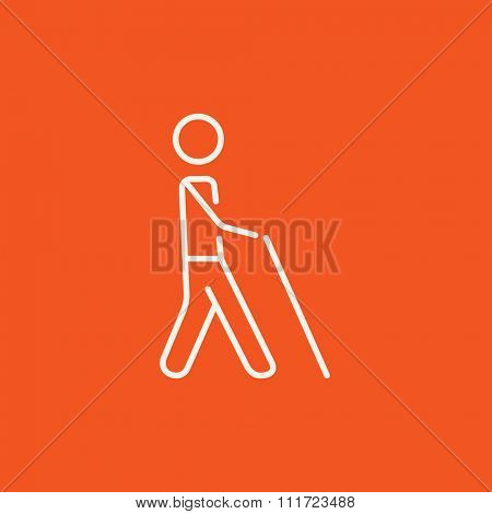 Blind walking man with a stick line icon for web, mobile and infographics. Vector white icon isolated on red background.