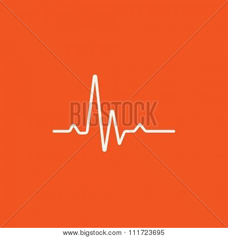 Hheart beat cardiogram line icon for web, mobile and infographics. Vector white icon isolated on red background.