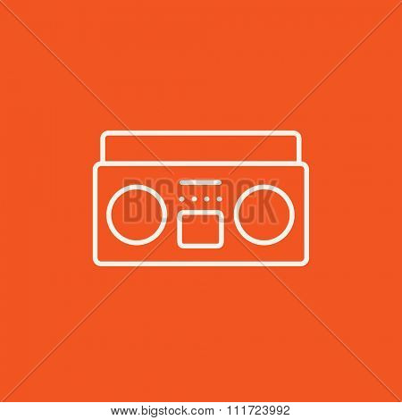 Radio cassette player line icon for web, mobile and infographics. Vector white icon isolated on red background.