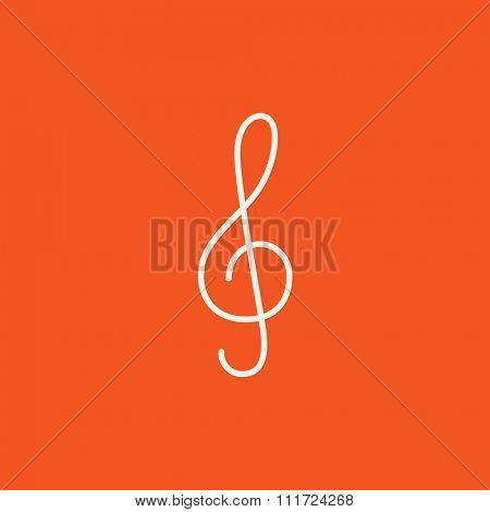 G-clef line icon for web, mobile and infographics. Vector white icon isolated on red background.