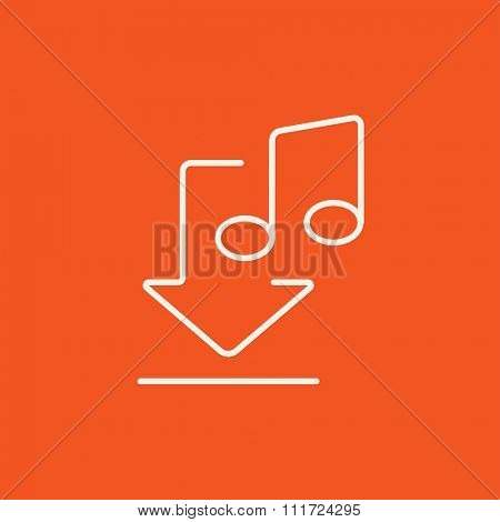 Download music line icon for web, mobile and infographics. Vector white icon isolated on red background.
