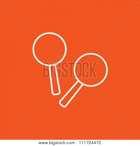 Maracas line icon for web, mobile and infographics. Vector white icon isolated on red background.