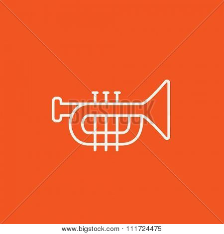Trumpet line icon for web, mobile and infographics. Vector white icon isolated on red background.