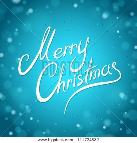 Blue Winter Greeting Card with the Merry Christmas lettering