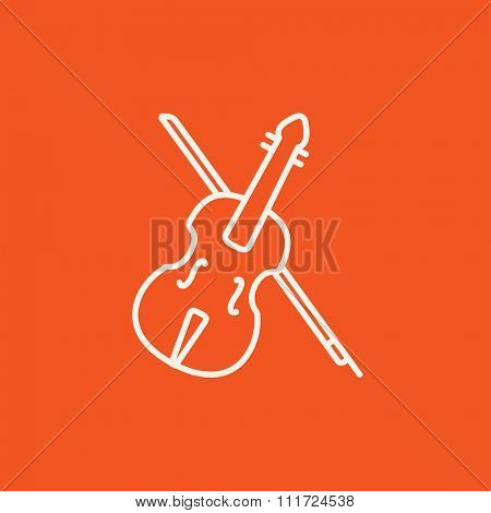 Violin with bow line icon for web, mobile and infographics. Vector white icon isolated on red background.