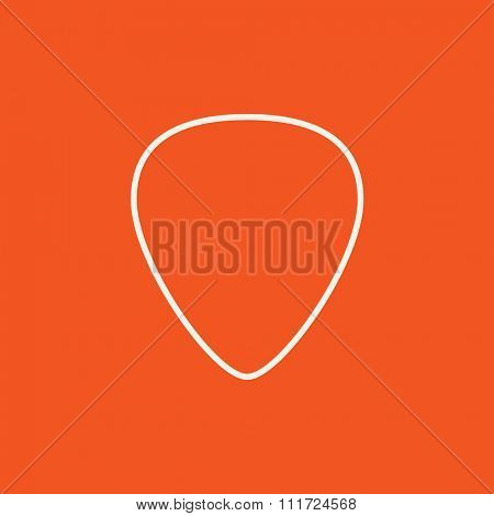 Guitar pick line icon for web, mobile and infographics. Vector white icon isolated on red background.