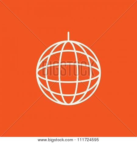 Disco ball line icon for web, mobile and infographics. Vector white icon isolated on red background.