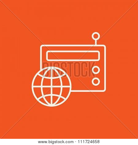Retro radio with globe line icon for web, mobile and infographics. Vector white icon isolated on red background.