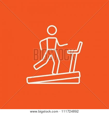 Man running on a treadmill line icon for web, mobile and infographics. Vector white icon isolated on red background.