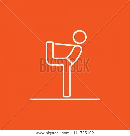 Man in yoga pose nataradzhasana line icon for web, mobile and infographics. Vector white icon isolated on red background.