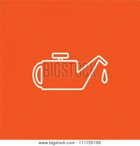 Oiler line icon for web, mobile and infographics. Vector white icon isolated on red background.