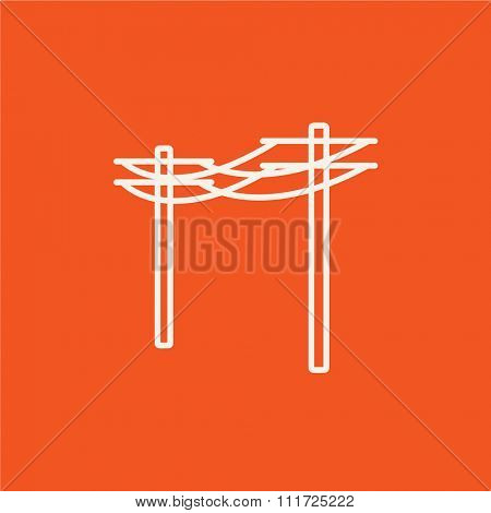 High voltage power lines line icon for web, mobile and infographics. Vector white icon isolated on red background.