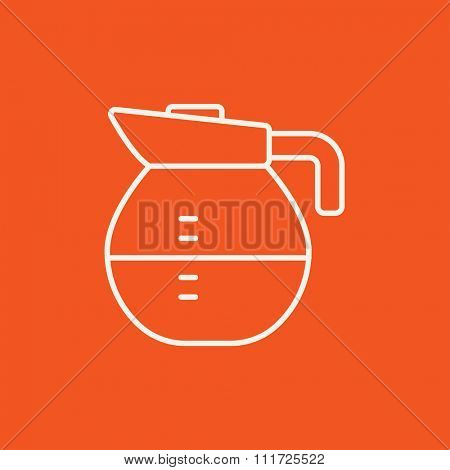 Carafe line icon for web, mobile and infographics. Vector white icon isolated on red background.