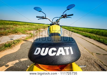 RUSSIA-AUGUST 11, 2015: Scrambler Icon - Ducati. A new Ducati Scrambler was introduced at the 2014 Intermot motorcycle show. Ducati is an Italian company that designs and manufactures motorcycles.