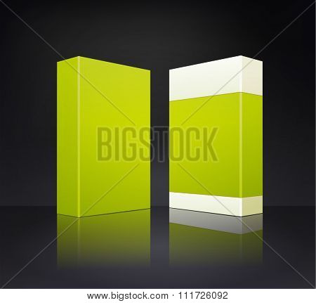 template green box isolated on a dark grey background