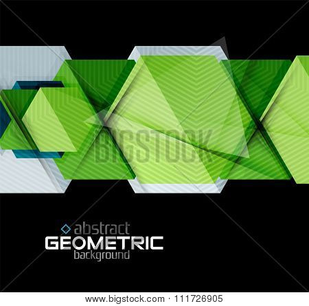 Textured paper geometric shapes on black. Vector abstract background