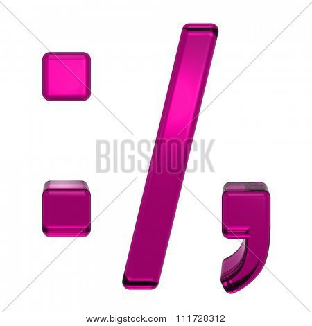 Colon, semicolon, period, comma from pink alphabet set, isolated on white. Computer generated 3D photo rendering.