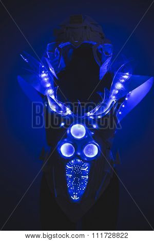Blue LED lights armor made with plastics and lightweight materials.