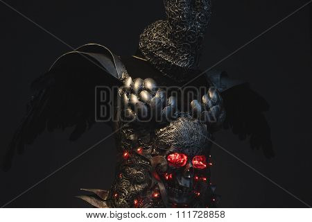 Battle, silver armor skull with red eyes and led lights, helmet metal filigree