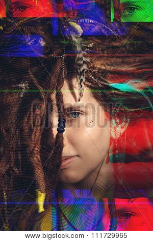 Portrait of a girl with dreadlocks distorted with glitch technique