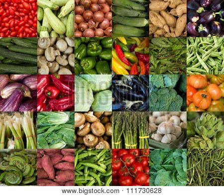 Collage of vegetables like asparagus, lettuce, tomato and cucumber