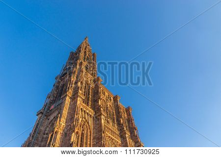 Cathedral of Our Lady (Notre Dame) of Strasbourg in Alsace. The historic center, including the cathedral, of Strasbourg is UNESCO World Heritage Site