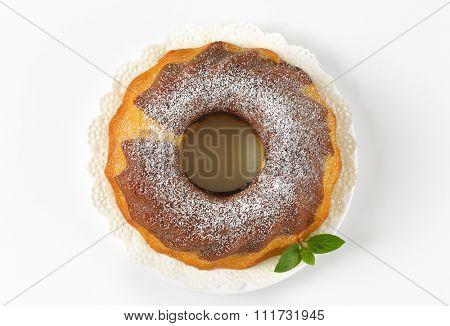 marble bundt cake on white plate