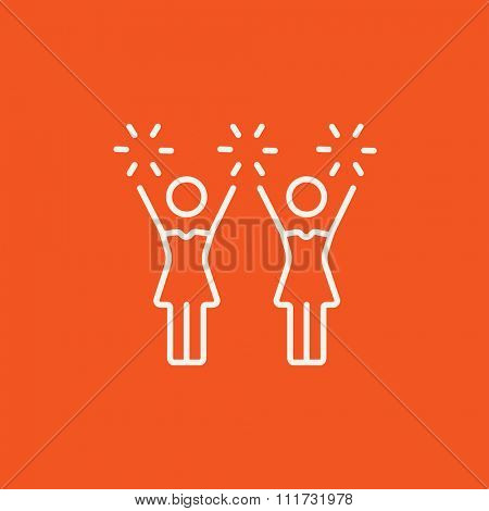 Cheerleaders line icon for web, mobile and infographics. Vector white icon isolated on red background.