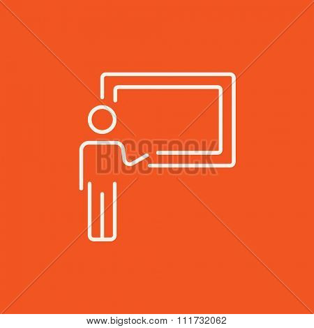Professor pointing at blackboard line icon for web, mobile and infographics. Vector white icon isolated on red background.