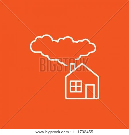 House with a chimney and smoke line icon for web, mobile and infographics. Vector white icon isolated on red background.