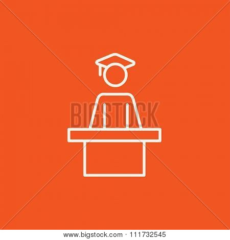 Graduate standing near tribune line icon for web, mobile and infographics. Vector white icon isolated on red background.