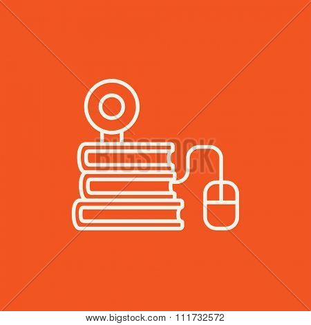 Computer mouse connected to a stack of books with webcam on it line icon for web, mobile and infographics. Vector white icon isolated on red background.