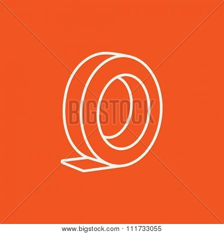 Roll of adhesive tape line icon for web, mobile and infographics. Vector white icon isolated on red background.