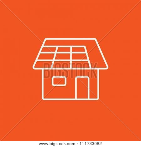 House with solar panel line icon for web, mobile and infographics. Vector white icon isolated on red background.
