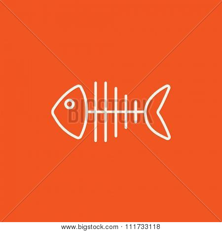 Fish skeleton line icon for web, mobile and infographics. Vector white icon isolated on red background.