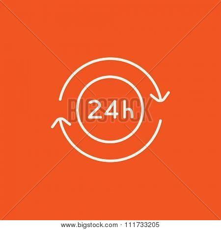 Service 24 hrs line icon for web, mobile and infographics. Vector white icon isolated on red background.
