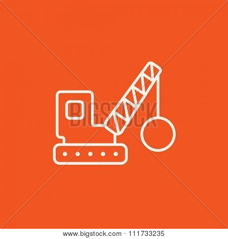 Demolition trailer line icon for web, mobile and infographics. Vector white icon isolated on red background.