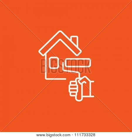 House with roller for painting line icon for web, mobile and infographics. Vector white icon isolated on red background.