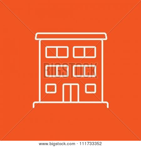 Residential buildings line icon for web, mobile and infographics. Vector white icon isolated on red background.