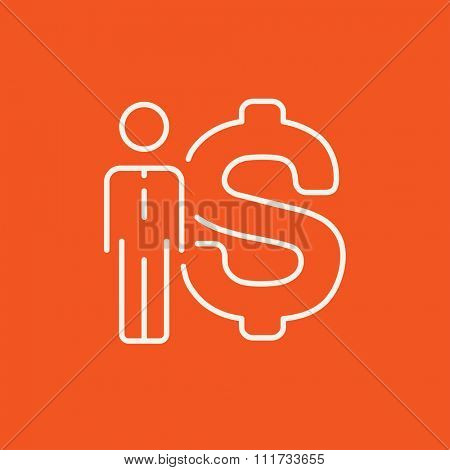 Businessman standing beside the dollar symbol line icon for web, mobile and infographics. Vector white icon isolated on red background.
