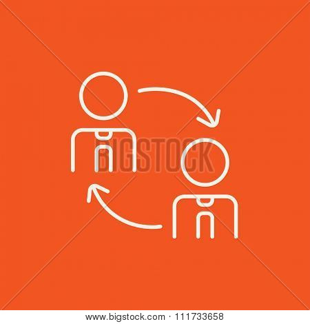 Staff turnover line icon for web, mobile and infographics. Vector white icon isolated on red background.