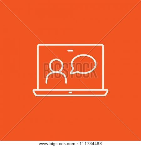 Video chat online line icon for web, mobile and infographics. Vector white icon isolated on red background.
