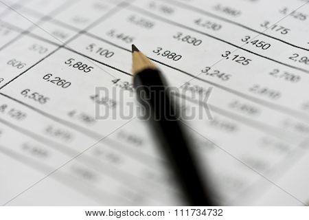 Pencil On Financial Statement On Accountant's Desk