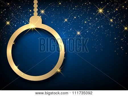 Christmas blue sparkling background with ball. Vector paper illustration.
