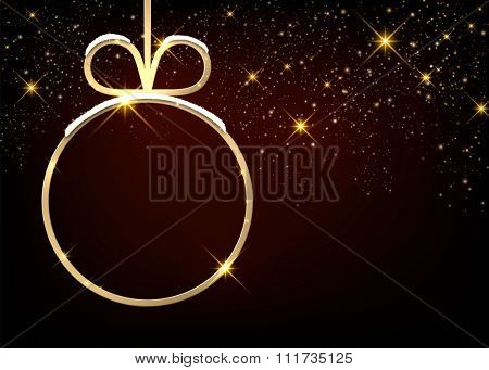 Christmas sparkling background with ball. Vector paper illustration.