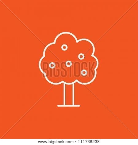 Fruit tree line icon for web, mobile and infographics. Vector white icon isolated on red background.